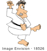 #18526 Caucasian Man In Robes Kicking And Practicing The Martial Art Of Karate Clipart