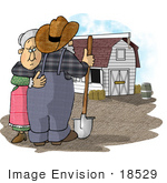 #18529 Senior Farmer And Wife Couple Embracing Near A White Stable Barn On A Farm Clipart