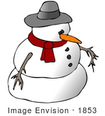 #1853 Clipart Ilustration Of A Snowman In A Hat And Scarf