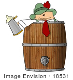 #18531 Man Celebrating Oktoberfest In A Barrel Keg Holding A Beer Stein Clipart