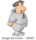 #18533 Caucasian Man In Sweats Taking A Break From Jogging Clipart