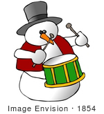 #1854 Clipart Ilustration Of A Snowman Playing A Drum