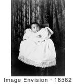 #18562 Photo Of African American Baby Wearing A Christening Gown Awaiting A Baptism