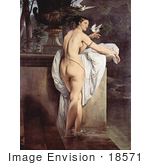 #18571 Photo Of Carlotta Chabert As Venus Standing Nude In A Garden With Doves By Francesco Hayez