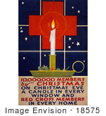 #18575 Photo Of A Christmas Candle With Holly And Berries By A Window With A Red Cross