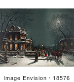 #18576 Photo Of A Horse Drawn Carriage And People Arriving At A House For A Christmas Party On The Night Of Christmas Eve