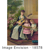 #18578 Photo of a Mother and Two Little Girls Singing a Christmas Carol by JVPD