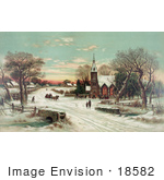 #18582 Photo of People Gathering at a Small Village Church on a Snowy Christmas Eve by JVPD