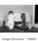 #18585 Photo Of A Little Boy Child And His Dog Kneeling By A Crib