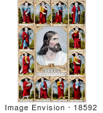 #18592 Photo Of Jesus Christ And The Twelve Apostles St Peter St Thomas St John St Luke St Paul St Andrew St Simon St Phillip St Matthew St Bartholemew St James And St Mark