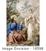 #18598 Photo of Jesus Christ and the Woman of Samaria at Jacob's Well by JVPD