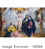 #18599 Photo Of Jesus Christ And Two Other Men On Crosses Mary And Others In Mourning