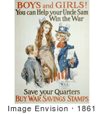 #1861 Uncle Sam With Boy And Girl