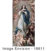 #18611 Photo Of Mary As The The Immaculate Conception With Clouds And Cherubs