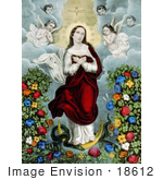 #18612 Photo of the Virgin Mary With Angels, Snake and Flowers, Immaculate Conception by JVPD