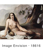 #18616 Photo of a Sorrowful Mary Magdalene Seated Nude With a Human Skull and Cross by JVPD