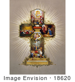 #18620 Photo of an Easter Cross With Scenes From the Bible and Children With Easter Eggs by JVPD