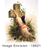 #18621 Photo Of A Woman Draped On A Cross Covered With Vines