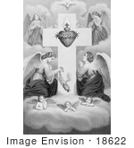 #18622 Photo Of Winged Angels And Cherubs In Prayer At The Sacred Heart Of Jesus Christ