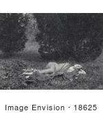 #18625 Photo Of A Young Woman Lying On A Leopard Skin Outdoors Wearing A Sheer Cloth