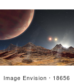 #18656 Stock Photo Of A Moon In Orbit In A Triple Star System In The Constellation Cygnus