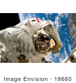 #18660 Stock Photo Of Astronaut Piers John Sellers During A Space Walk On An Sts-121 Mission