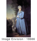 #18666 Photo Of Queen Catherine The Great With Her Whippet Dog In The Garden Of Tsarskoye Selo