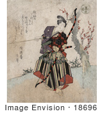 #18696 Photo of a Japanese Man Practicing Archery, Holding a Bow and Arrow by JVPD