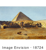 #18724 Photo Of People And Camels Near The Great Pyramid Of Giza (Khufus Pyramid Pyramid Of Khufu) In Giza Cairo Egypt