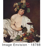 #18788 Photo of a Young Man Wearing Grapes and Leaves on His Head, Holding a Glass of Red Wine, Seated by Fruit by JVPD