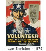 #1879 Uncle Sam Volunteer And Choose Your Own Branch Of The Service