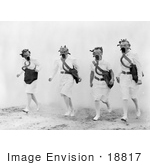 #18817 Photo Of Four Female Nurses Walking Through Smoke And Wearing Gas Masks During A Training Drill