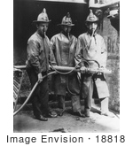 #18818 Photo Of Three Firemen Wearing Smoke Masks