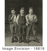 #18819 Photo Of Three Little Boys Standing Side By Side