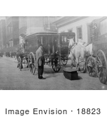 #18823 Photo of Horse Drawn Hearses Parked at a Funeral Parlor in NYC by JVPD