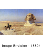 #18824 Photo of Napoleon Bonaparte on Horseback Viewing the Great Sphinx of Giza Prior to Full Excavations, Egypt by JVPD