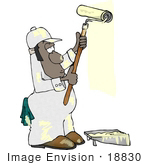 #18830 African American Man Using A Roller Brush While Painting Clipart