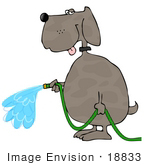 #18833 Dog Spraying Water From A Green Garden Hose Clipart