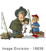 #18838 Grandpa Hooking A Worm As Bait For His Grandson While Fishing Clipart