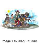 #18839 Group Of People And Their Dog Fishing Clipart