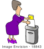#18843 Woman Shredding Documents In An Office Clipart