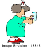 #18846 Nurse Woman Holding a Cup of Water and a Cup of Pills For a Patient Clipart by DJArt