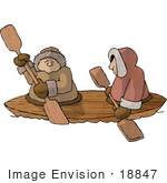 #18847 Two Eskimos In A Kayak Clipart