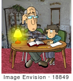 #18849 Confused Old Man Trying To Help A Boy With His Homework Clipart