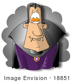 #18851 Male Vampire With Pumpkins In His Eyes On Halloween Clipart