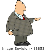 #18853 Chubby Business Man Pointing To The Right Clipart