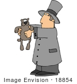 #18854 Man In A Top Hat Holding A Groundhog On Groundhog'S Day Clipart