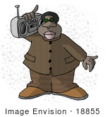 #18855 African American Man In A Stylish Brown Suit Holding A Radio On His Shoulder Clipart