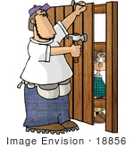 #18856 Fence Man Nailing Wooden Boards Clipart