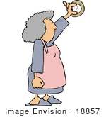 #18857 Woman Adjusting A Thermostat To Turn On The Air Conditioning Or Heating Clipart